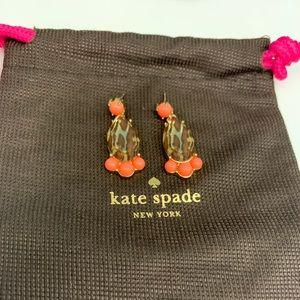 Kate Spade Orange and Cheetah Print Earrings.